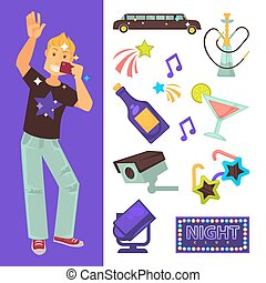 Night club party boy and dancing singing vector flat icons