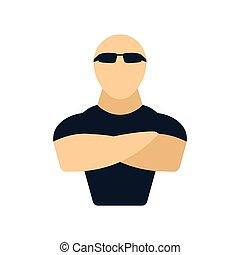 Night club security icon. Flat color design. Vector illustration.