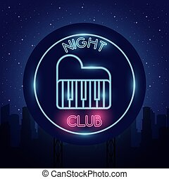 night club word calligraphy with piano neon lights vector ...