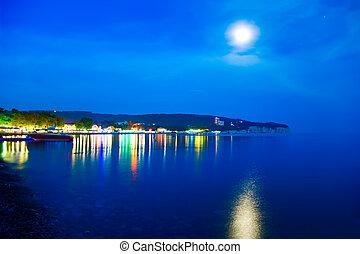 Night coast. Boat. Moon. Sea.