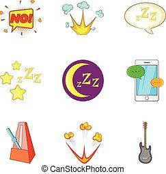 Night concert icons set, cartoon style