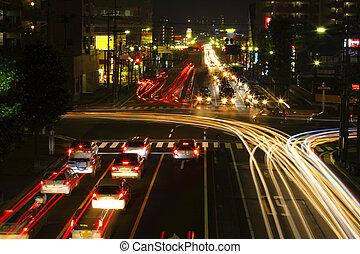Night crossroad traffic
