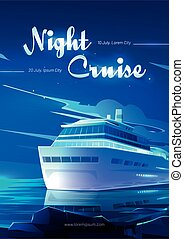 Night cruise on sea liner cartoon invitation flyer