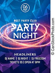 Night dance party music night poster template. Electro style...