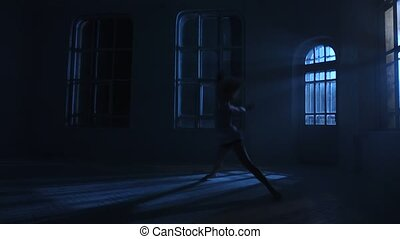 Night dances in light of moon, performance graceful girl....