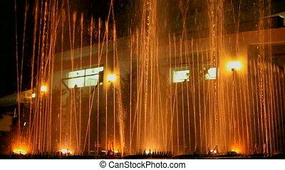 Night dancing fountain