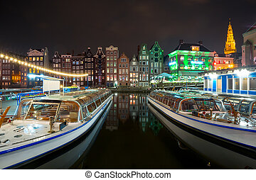 Night dancing houses at Amsterdam, Netherlands.