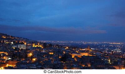 Night-Day. Zoom. Tivoli, Italy. Time Lapse