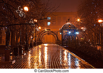 Night decorated alley in the city park