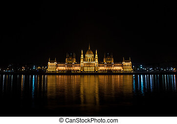 Night detail of the Parliament building in Budapest, Hungary