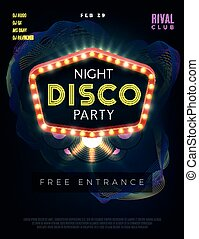 Night disco dance party poster with glowing frame. Vector design template