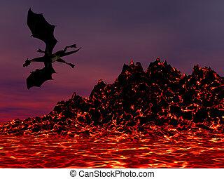 Night Dragon - Dragon flying over molten magma