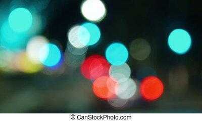 Night drive bokeh lights
