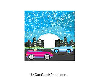 Night drive in a car