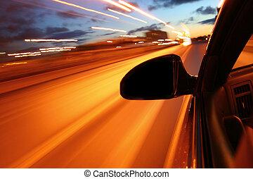 night drive motion blurred transportation background