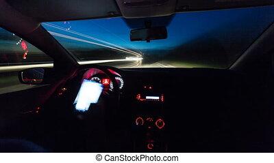 night driving a car