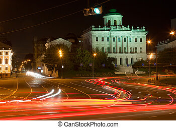 Night driving at center of Moscow.