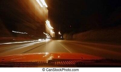 night driving urban city road