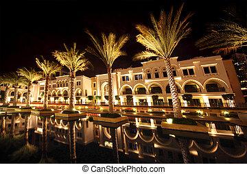 night Dubai street with palms and pool, United Arab Emirates