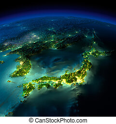 Night Earth. A piece of Asia - Japan, Korea, China - Highly...