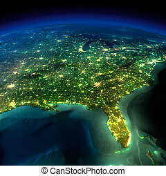 Night Earth. A piece of North America - Highly detailed ...