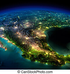 Highly detailed Earth, illuminated by moonlight. The glow of cities sheds light on the detailed exaggerated terrain and translucent water of the oceans. Elements of this image furnished by NASA