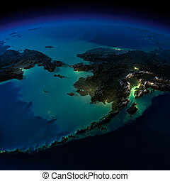 Night Earth. Alaska and the Bering Strait - Highly detailed...