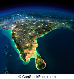 Night Earth. India and Sri Lanka - Highly detailed Earth,...