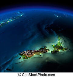 Night Earth. Pacific - New Zealand - Highly detailed Earth,...