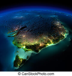 Night Earth. Part of Australia. Tasmania - Highly detailed...