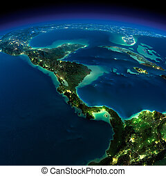 Night Earth. The countries of Central America - Highly...