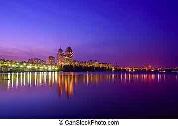 Night embankment with illumination