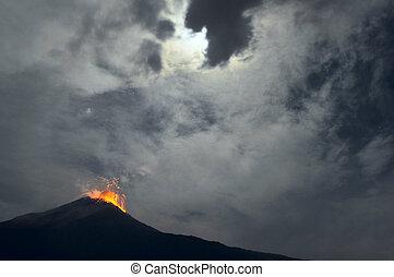 Night eruption. Tungurahua Volcano, Banos, Cordillera Occidental of the Andes of central Ecuador, South America