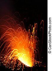 Night eruption volcano Stromboli