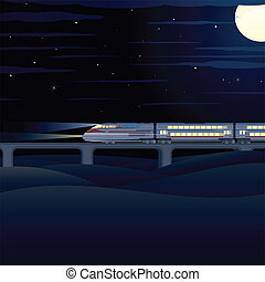 Night Express. Vector Illustration - Night Express Train....