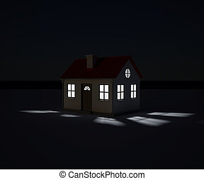 Night exterior small house. Background - the night sky