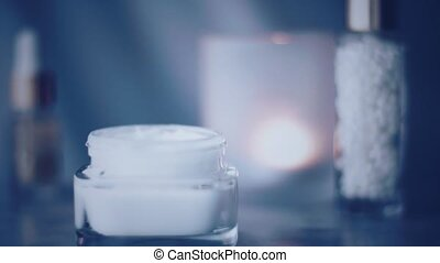 Night face cream jar or body lotion for healthy skin care routine, organic cosmetic product and beauty brand, stock footage
