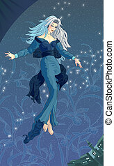 Night fairy in the astral sky above a city