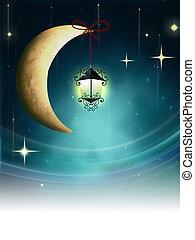 Night fairy tale - lantern on a crescent moon