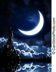 Night fairy-tale. Fantasy landscape with castle