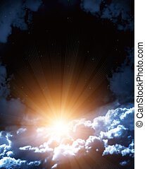 Night fairy tale - bright sun in the night sky