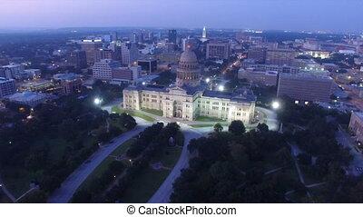 Night Falls Austin Texas Capital Building Aerial View...