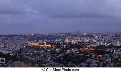 Night falls over Jerusalem city timelapse