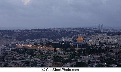 Night falls over Jerusalem city timelapse