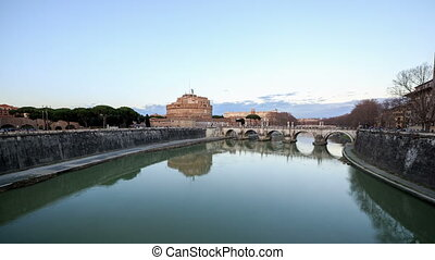 Night falls. Zoom. San Angelo, Rome, Italy. Time Lapse