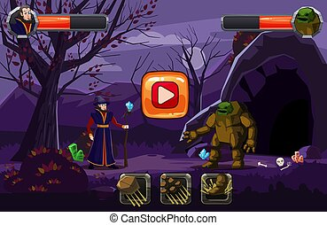 Night fantasy landscape, mountain, cave. trees, autumn. Fairy magician in a hat with a staff and an golem in battle, skill buttons and bars of life. For games and applications. Vector, illustration, isolated