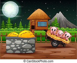 Night farm landscape with three little pigs on the cart