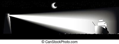 night., faro, barco, navegación