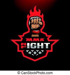Night fight. Mixed martial arts sport logo.