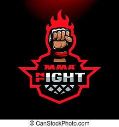 Night fight. Mixed martial arts sport logo.